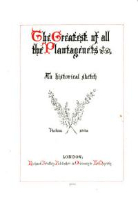 The Greatest of all the Plantagenets Book