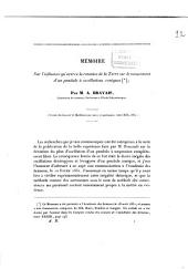 Mémoire sur l'influence qu'exerce la rotation de la terre sur le mouvement d'un pendule à oscillations coniques