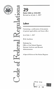 Code of Federal Regulations  Title 29  Labor  Pt  1900 to Sec  1910 999  Revised as of July 1  2007 PDF