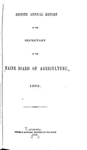 Annual Report of the Secretary of the Maine Board of Agriculture