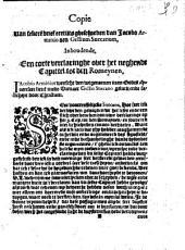 Copie van sekere[n] brief eertijts gheschreven van Jacobo Arminioaen Gellium Snecanum, Inhoudende, Een corte verclaringhe over hetneghende Capittel tot den Romeynen