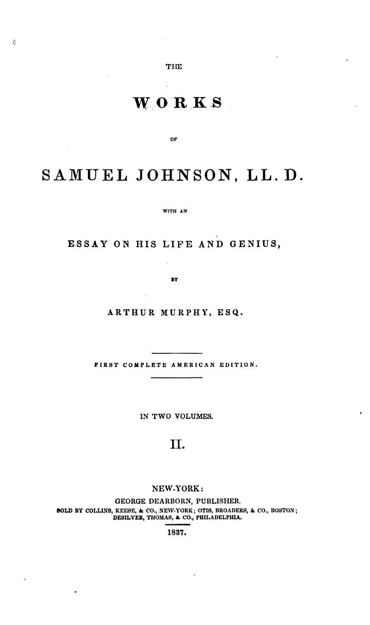 The Works of Samuel Johnson, LL. D.: Lives of the poets