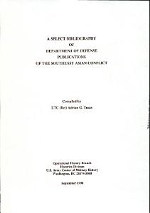 A Select Bibliography of Department of Defense Publications of the Southeast Asian Conflict PDF