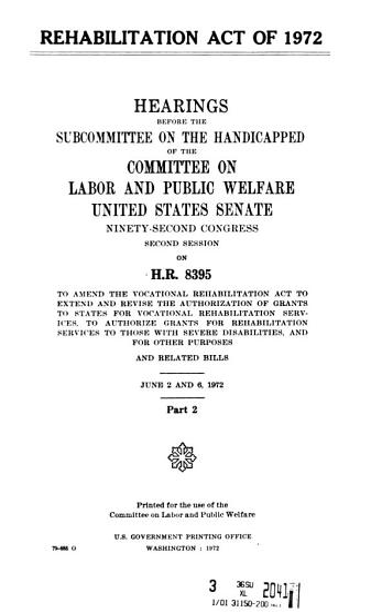 Rehabilitation Act Pf 1972 PDF