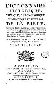 Dictionnaire historique, critique, chronologique, géographique et littéral de la Bible, 3