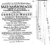 Dissertatio Inauguralis Chimico Medica De Sale Ammoniaco