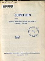Guidelines for the Business Opportunity Federal Procurement Conference Program PDF