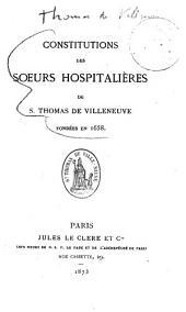 Constitutions des Soeurs Hospitalieres