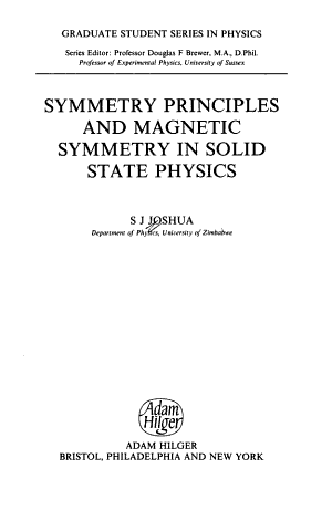 Symmetry Principles and Magnetic Symmetry in Solid State Physics PDF