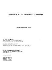 Selection of the University Librarian