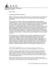 DOD business systems modernization limited progress in development of business enterprise architecture and oversight of information technology investments : congressional defense committees