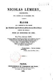 Nicolas Lémery, chimiste, né à Rouen le 10 novembre 1645. Eloge qui a remporté le prix proposé par l'Académie royale des sciences, belles-lettres et arts de Rouen (section des sciences) pour le concours de l'an 1838