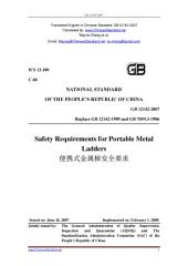 GB 12142-2007: Translated English of Chinese Standard. GB12142-2007.: Safety requirements for portable metal ladders.