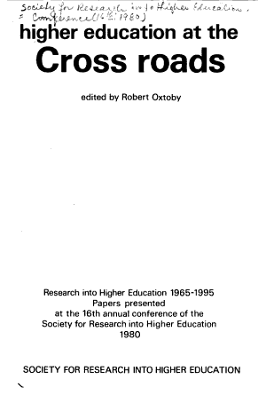 Higher Education at the Cross Roads