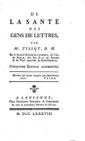 Oeuvres de Monsieur Tissot: contenant de la santé des gens de lettres, Volume8