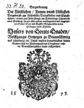 Bergordenung der ... Bergwercke am Zellerfelde, Burgkstedte vnd Claußthälern (etc.) (Hertzberg, den 18. Sept. 1593.).