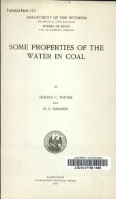 Some properties of the water in coal