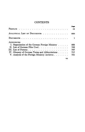 Documents on German Foreign Policy  1918 1945  from the Archives of the German Foreign Ministry PDF