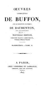Oeuvres complètes de Buffon: avec les descriptions anatomiques de Daubenton, son collaborateur, Volume17,Partie2