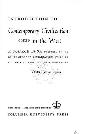 An Introduction to Contemporary Civilization in the West PDF
