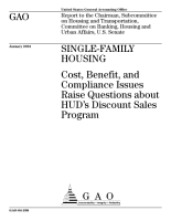 Singlefamily housing cost  benefit  and compliance issues raise questions about HUD s discount sales program  PDF