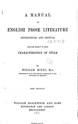 A Manual of English Prose Literature PDF