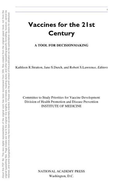 Download Vaccines for the 21st Century Book