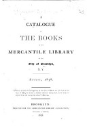 A Catalogue of the Books in the Mercantile Library of the City of Brooklyn  N Y  August  1858 PDF