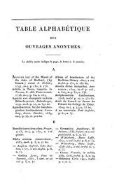 Catalogue de livres imprimés sur vélin, qui se trouvent dans des bibliothéques tant publiques que particulières, pour servir de suite au catalogue des livres imprimés sur vélin de la Bibliothéque du roi [by J.B.B. van Praet].