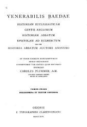 Historia ecclesiastica gentis Anglorum: Volume 1