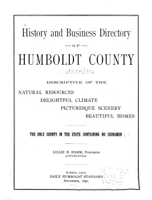 History and Business Directory of Humboldt County  Cal       PDF
