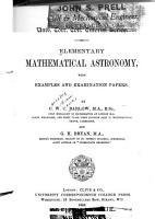 Elementary Mathematical Astronomy PDF