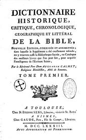 Dictionnaire historique, critique, chronologique, géographique et littéral de la Bible