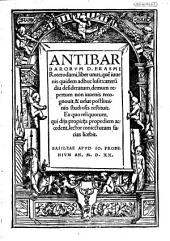 Antibarbarorum D. Erasmi Roterodami: liber unus