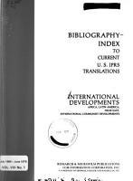 International Developments  A Bibliography index to U S  JPRS Translations PDF