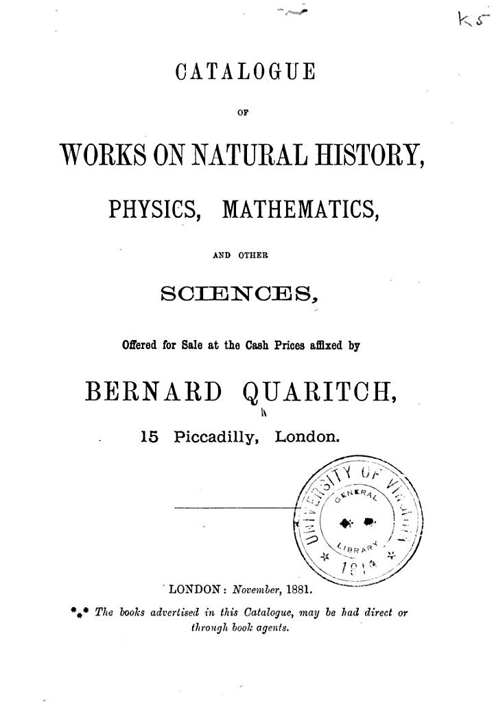 Catalogue of Works on Natural History, Physics, Mathematics, and Other Sciences