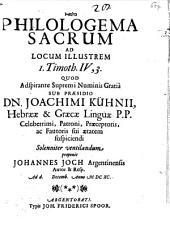 Philologema sacrum ad locum illustrem 1 Tim. IV, 3