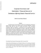 Corporate Governance and Stakeholders' Financial Interests in Institutions Offering Islamic Financial Services