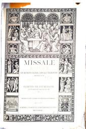 Missale romanum: ex decreto sacros. Concilii Tridentini restitutum, s. Pii V. pontificis maximi jussu editum, Clementis VIII, et Urbani VIII. auctoritate recognitum