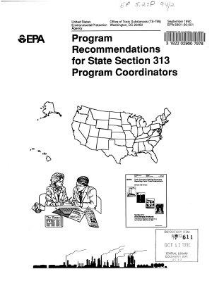 Program Recommendations for State Section 313 Program Coordinators