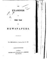 The Examiner And The Tax On Newspapers From The Radical Of Saturday March 26 1836 Signed F P I E Francis Place