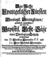Das Recht Evangelischer Fürsten In Theologis. Streitigkeiten (etc.)