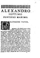 Epistola ad Alexandrum VII. P. M. E. Portu Regio Aug. 27.1655