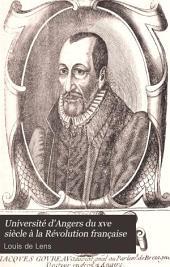 Université d'Angers du XVe siècle à la Révolution française: Volume1