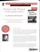 Nickel and Dimed Teacher s Guide PDF