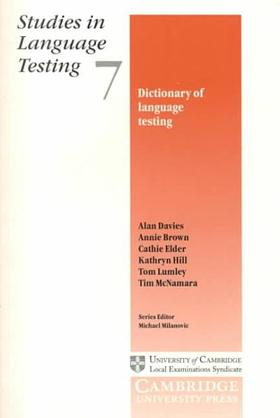Download Dictionary of Language Testing Book