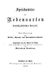 Sprichwörter und Redensarten Deutsch-jüdischer Vorzeit