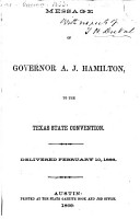Message of Governor A  J  Hamilton  to the Texas State Convention PDF