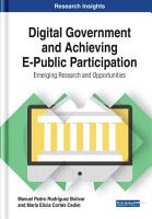 Digital Government and Achieving E Public Participation  Emerging Research and Opportunities PDF