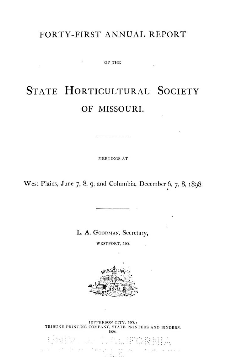 Report of the Missouri State Horticultural Society for the Year ...